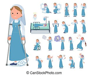 flat type Nun women emerald costume_sickness - A set of Nun...