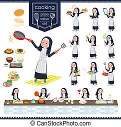 flat type Nun women_cooking - A set of Nun women about...