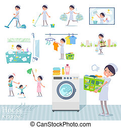 A set of Nurse women related to housekeeping such as cleaning and laundry. There are various actions such as child rearing. It's vector art so it's easy to edit.