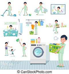 A set of patient man related to housekeeping such as cleaning and laundry. There are various actions such as child rearing. It's vector art so it's easy to edit.