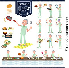 flat type patient old men_cooking - A set of patient old man...