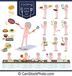 flat type patient senior woman_cooking - A set of senior...