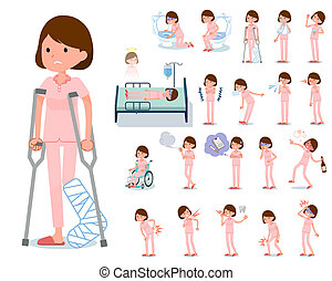 flat type patient young women_sickness - A set of young...
