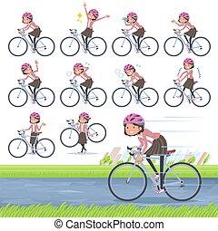 flat type Pink jacket Middle women_road bike