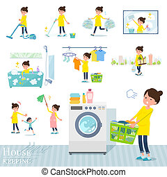 A set of Pregnant women related to housekeeping such as cleaning and laundry. There are various actions such as child rearing. It's vector art so it's easy to edit.