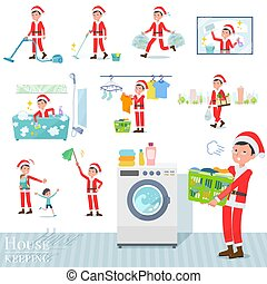 A set of Santa Claus costume men related to housekeeping such as cleaning and laundry. There are various actions such as child rearing. It's vector art so it's easy to edit.