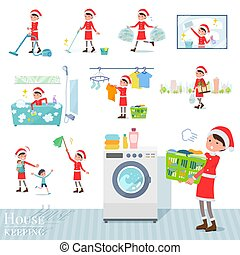 A set of Santa Claus costume women related to housekeeping such as cleaning and laundry. There are various actions such as child rearing. It's vector art so it's easy to edit.