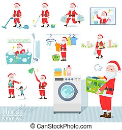 A set of Santa Claus related to housekeeping such as cleaning and laundry. There are various actions such as child rearing. It's vector art so it's easy to edit.