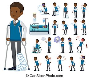 flat type school boy black_sickness - A set of school boy...
