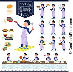 flat type school boy Blue jersey_cooking - A set of school...