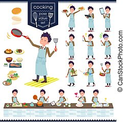 flat type school boy Brown Blazer_cooking - A set of school...