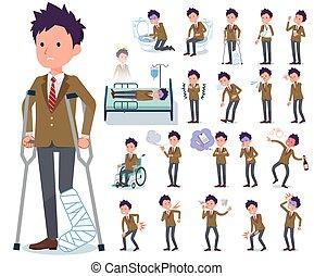 flat type school boy Brown Blazer_sickness - A set of school...
