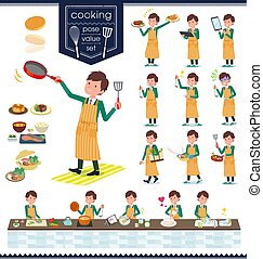 flat type school boy Green Blazer_cooking - A set of school...