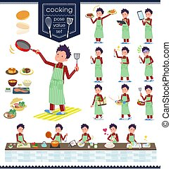 flat type school boy red jersey_cooking - A set of school...