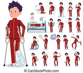 flat type school boy red jersey_sickness - A set of school...