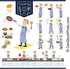 flat type school boy White_cooking - A set of school boy...