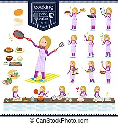 flat type school fair skin girl purple jersey_cooking - A...