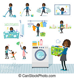 A set of school girl related to housekeeping such as cleaning and laundry. There are various actions such as child rearing. It's vector art so it's easy to edit.