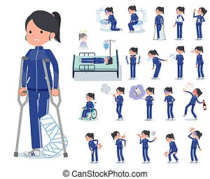 A set of women in sportswear with injury and illness. There are actions that express dependence and death. It's vector art so it's easy to edit.