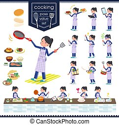 flat type school girl Blue jersey_cooking - A set of women...