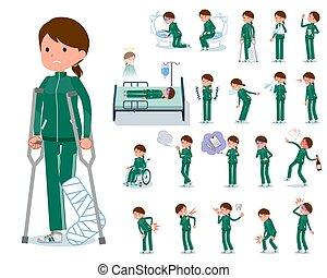 flat type school girl green jersey_sickness - A set of women...
