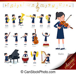A set of school girl on classical music performances. There are actions to play various instruments such as string instruments and wind instruments. It's vector art so it's easy to edit.