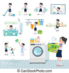 A set of women related to housekeeping such as cleaning and laundry. There are various actions such as child rearing. It's vector art so it's easy to edit.