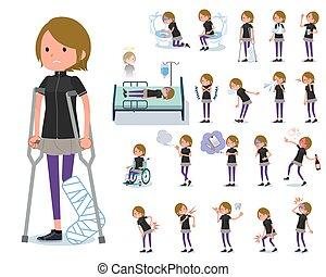 flat type Short hair women Sportswear_sickness - A set of...
