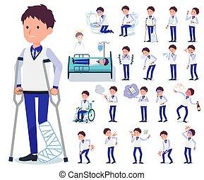 flat type Store staff Blue uniform men_sickness - A set of...