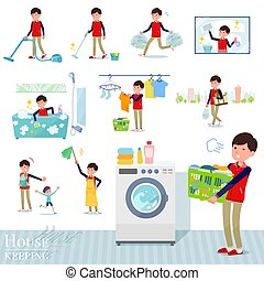 A set of Store stuff man related to housekeeping such as cleaning and laundry. There are various actions such as child rearing. It's vector art so it's easy to edit.