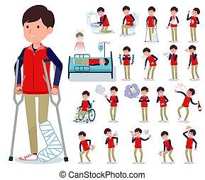 flat type Store staff red uniform men_sickness - A set of...