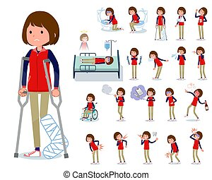 flat type Store staff red uniform women_sickness - A set of...