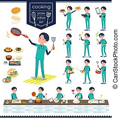 flat type surgical doctor men_cooking - A set of Doctor man...