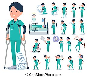 flat type surgical doctor men_sickness - A set of Doctor man...