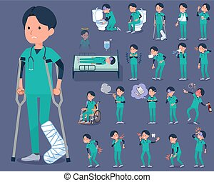 flat type surgical operation green wear men_sickness