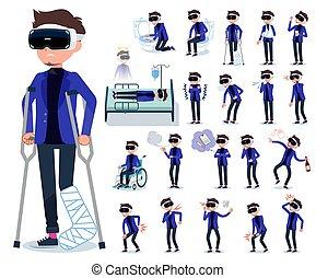 flat type VR goggle men_sickness - A set of men wearing...