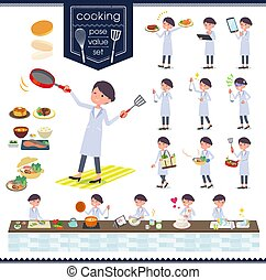 flat type White coat women_cooking - A set of scientist...