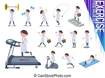 flat type White coat women_exercise - A set of scientist...