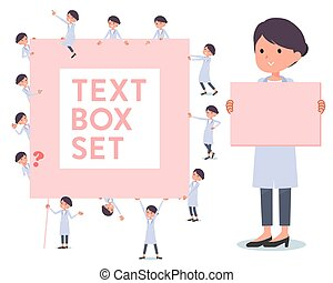 flat type White coat women_text box - A set of scientist...