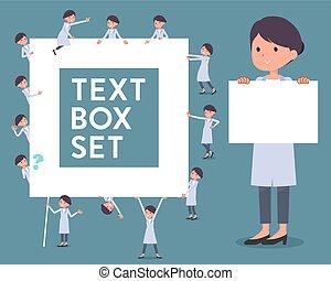 flat type White coat women_text box