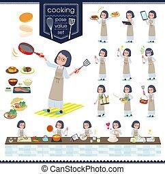 flat type White dress women_cooking - A set of women about...