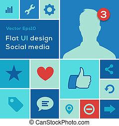 Flat UI design trend social media set icons - Flat UI design...