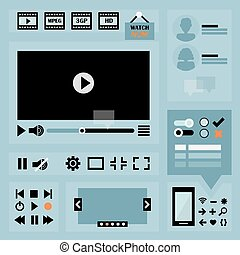 Flat UI design elements set for web and mobile - Icons, video & audio controllers, media player, image slider, buttons, avatars, and symbols