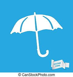 flat umbrella icon on a blue background