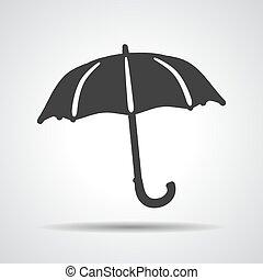 flat umbrella icon on a grey background