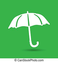 flat umbrella icon on the green background