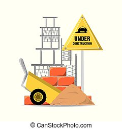 flat under construction warning and cart with cement
