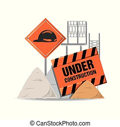 flat under construction warning and concrete