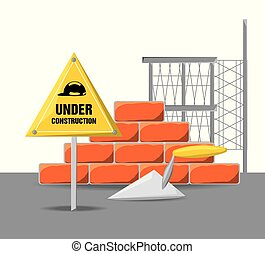 flat under construction warning with brick