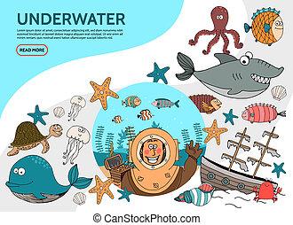 Flat Underwater Life Elements Set - Flat underwater life...